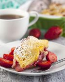 stock photo of french toast  - Baked French Toast With Strawberry and cup of tea [[** Note: Shallow depth of field ** Note: Visible grain at 100%, best at smaller sizes - JPG