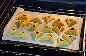 image of purim  - Backed Hamentashen Ozen Haman Purim cookies for the Jewish holiday Purim - JPG
