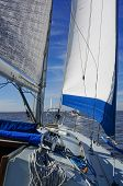 stock photo of sloop  - Sailboat with blue trimmed jib out sailing with other boats in the Icicle Races on Galveston Bay Texas