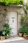 stock photo of front door  - White French front door surrounded by flowers - JPG