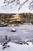 stock photo of shogun  - A golden zen temple during the winter time - JPG