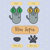 Постер, плакат: Blue Sepia Cat