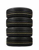 pic of asymmetric  - stack tires with asymmetric tread on a white background - JPG