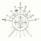 stock photo of crossed swords  - Vector illustrations of swords cross crosswise with shield  - JPG