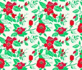 stock photo of dog-rose  - Seamless vector pattern with red dog roses - JPG