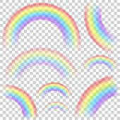 image of shapes  - Set of transparent rainbows in various sizes and shapes - JPG