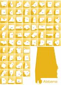 pic of alabama  - Set of icons of all counties and county seats of the State of Alabama - JPG