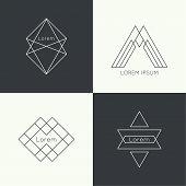stock photo of monogram  - Set of vector hipster logo - JPG