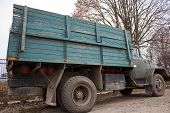 picture of chassis  - freight car with a big wooden body chassis - JPG