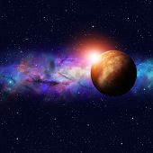 stock photo of imaginary  - imaginary deep space starfield image with stars and planets - JPG