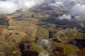 stock photo of lowlands  - Aerial photo taken during a flight over the lowlands of Scotland in February. ** Note: Soft Focus at 100%, best at smaller sizes - JPG