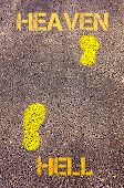 image of hell  - Yellow footsteps on sidewalk from Hell to Heaven message - JPG