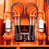 stock photo of hydraulics  - Hydraulic mechanisms and hoses of a modern tractor - JPG