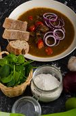 foto of red hot chilli peppers  - Original Czech beef goulash red onion hot chilli peppers in and bio healthy wholemeal bread - JPG