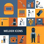 picture of labor  - Welder and blacksmith laborer decorative icons set isolated vector illustration - JPG