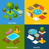 pic of recreation  - Landscape design concept set with green garden outdoor recreation and decoration isometric icons isolated vector illustration - JPG