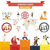 stock photo of pole dance  - Classic traditional authentic and sportive pole dance popularity world statistics charts infographic elements poster abstract vector illustration - JPG