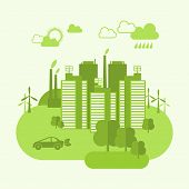 stock photo of ecosystem  - Green eco town concept with buildings and environment ecosystem vector illustration - JPG