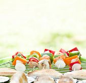 foto of barbecue grill  - Grill barbecue food with meat and vegetables - JPG
