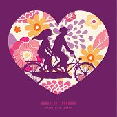picture of tandem bicycle  - Vector warm summer plants couple on tandem bicycle heart silhouette frame pattern greeting card template graphic design - JPG