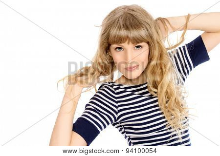 Smiling pretty teen girl wearing casual clothes. Active lifestyle. Studio shot. Isolated over white.