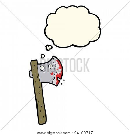 bloody cartoon axe with thought bubble