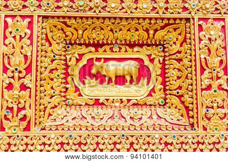 Cow Wall Sculpture In Thai Temple