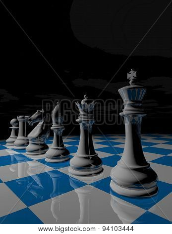Dark Surreal Background With Chess