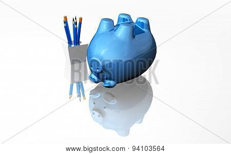 Financial Failure Defeat Concept With Blue Piggy Bank