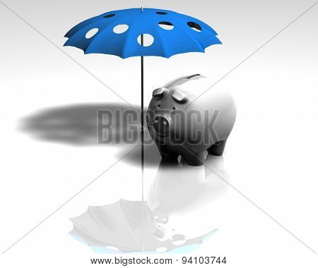 Saving Money And Financial Failure Concept With Piggy Bank