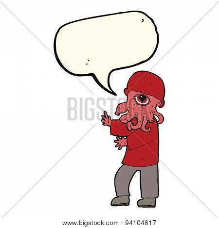 cartoon alien man with speech bubble