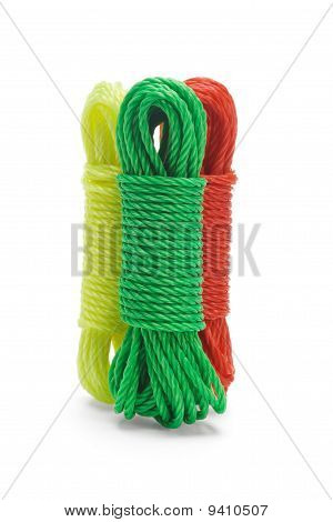 Three Bundles Of Colorful Nylon Ropes