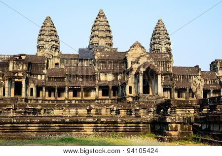 Angkor Wat, part of Khmer temple complex, popular among tourists ancient landmark and place of worship in Southeast Asia. Siem Reap, Cambodia. View from the rear, eastern part.