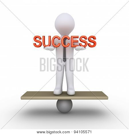 Businessman Is Balancing With Success