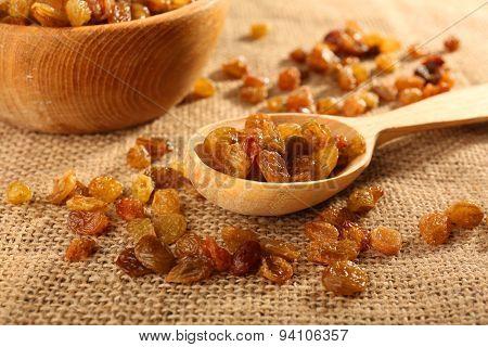 Raisins on sackcloth, closeup