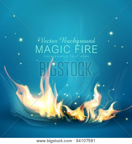 Vector blue background with a burning fire