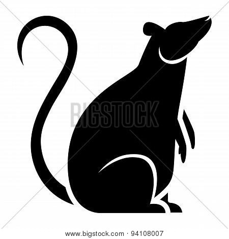 Vector Stylized Rat Illustration Isolated On White Background