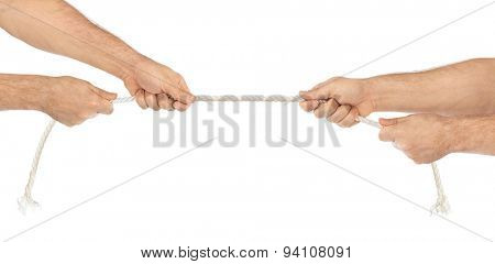 Hands and rope isolated on white background