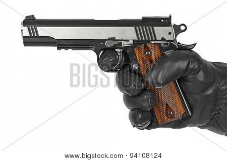 Hand with pistol isolated on white background
