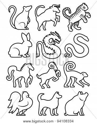 Set Of Stylized Chinese Zodiac Signs