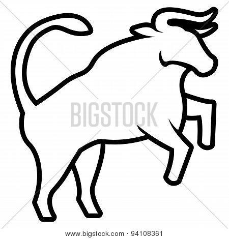 Vector Stylized Bull Illustration Isolated On White Background