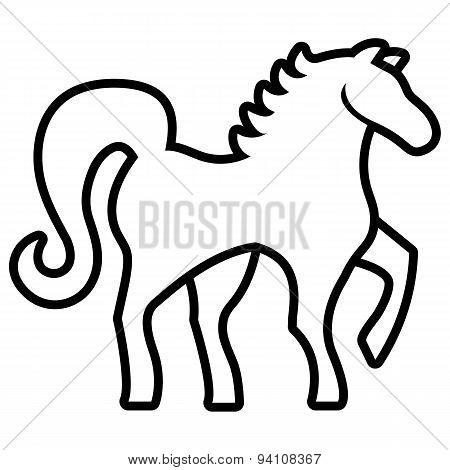 Vector Stylized Horse Illustration Isolated On White Background