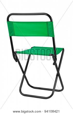 Green folding chair isolated on white background