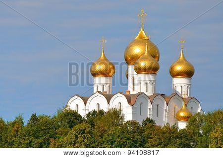 Assumption Cathedral With Golden Domes, Yaroslavl, Russia