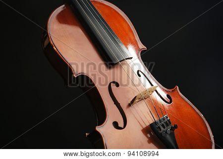 Classical violin on dark background