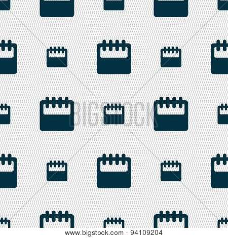 Notepad, Calendar Icon Sign. Seamless Pattern With Geometric Texture. Vector