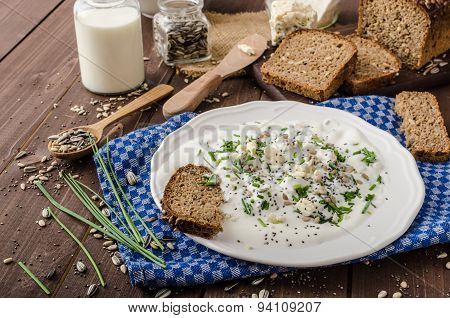 Homemade Yogurt Dip With Blue Cheese And Chives