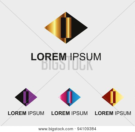 Rhombus logo with letter I symbol sign