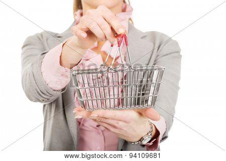 Beautiful businesswoman with shopping cart.