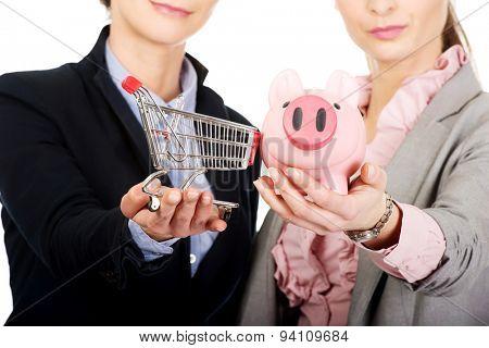 Two businesswomen holding a piggybank and shopping cart.